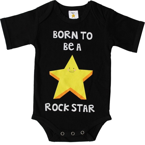 Xplorys Бебешко боди Born to be a Rockstar 50/56